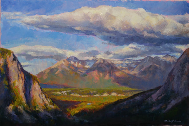 multi-colour oil painting titled The Bow Valley Midday light by artist michael downs