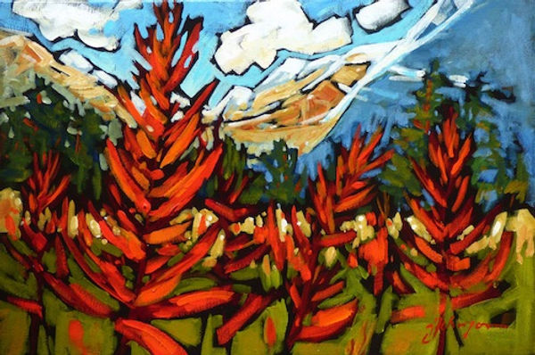 multi-colour acrylic painting titled Paintbrush Memory by artist gail johnson.