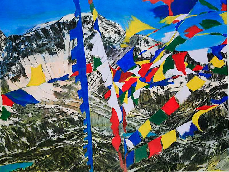 multi-colour mixed media painting titled Prayer Flags Over Al's Bowl by artist maureen enns