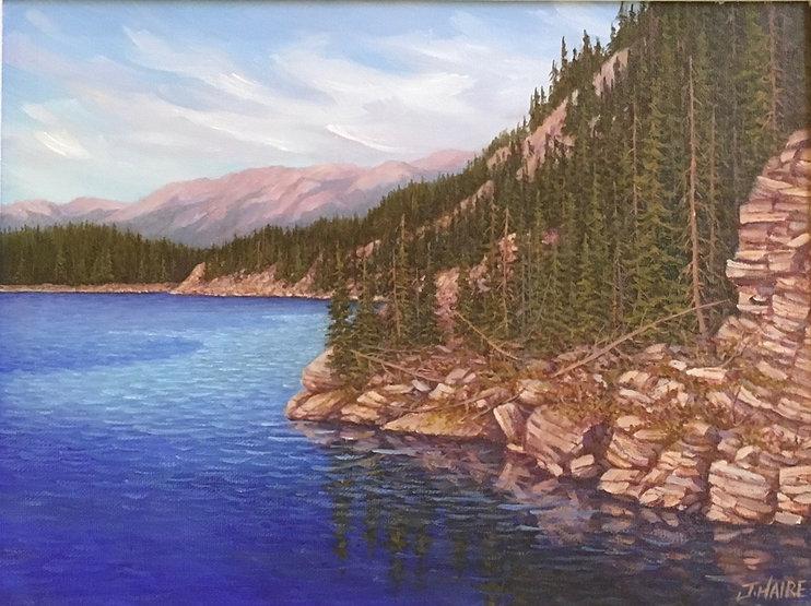 multi-colour oil painting titled SOLD - Horseshoe Lake near Jasper by artist joe haire.
