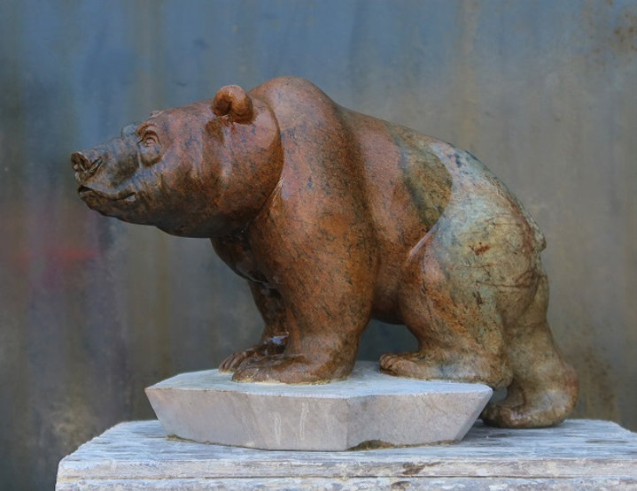 brazilian soapstone sculptor titled Horizon Bear by sculptor andrew gable.