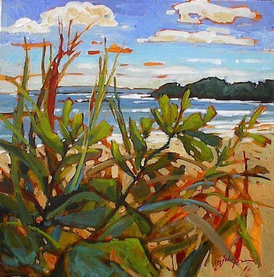 multi-colour acrylic painting titled Mackenzie Beach Morning by artist gail johnson.