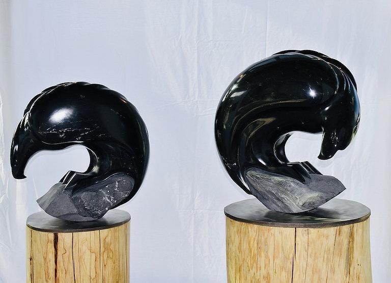 revelstoke argillite sculpture titled Balanced - Pair of Eagles by sculptor cathryn jenkins.