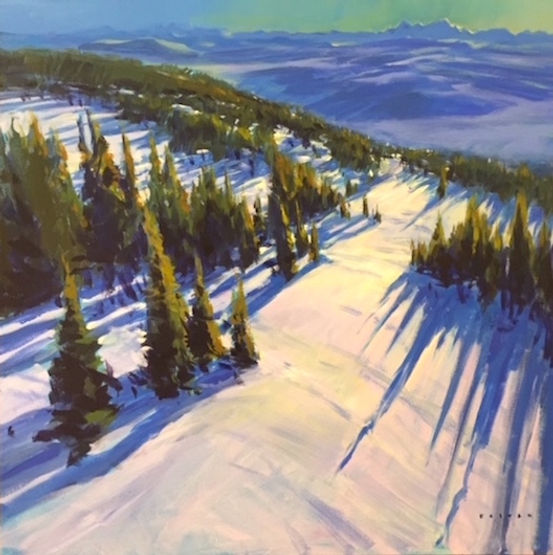 multi-colour arcylic painting titled Long Afternoon Shadows by artist charlie easton