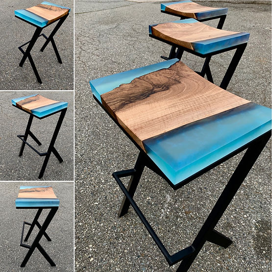 furninture titled Sapphire bar stools by artist benjamin mclaughlin.