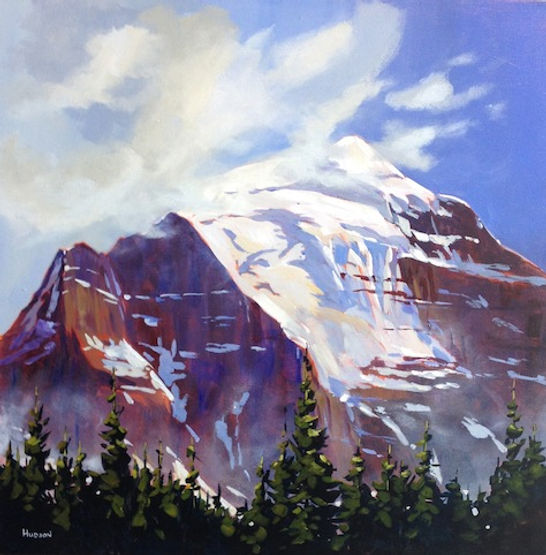 multi-colour acrylic painting titled Mt Temple by artist phillipa hudson.