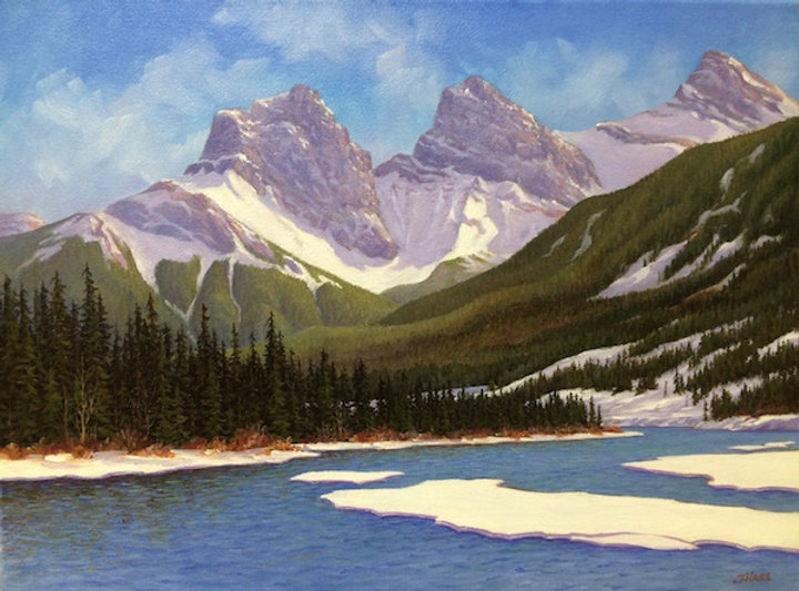 multi-colour oil painting titled SOLD - The Three Sisters by artist joe haire.