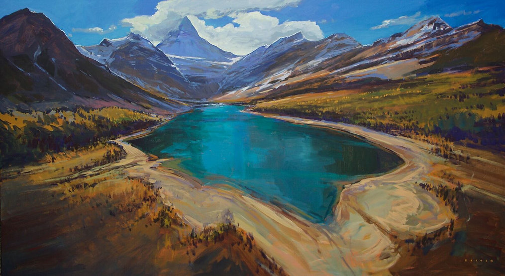 multi-colour arcylic painting titled Larch Magic under Assiniboine by artist charlie easton.