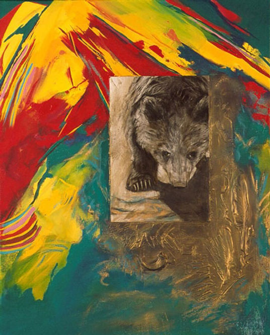 multi-colour mixed media painting titled Pausing Before Flight - Lemon by artist maureen enns