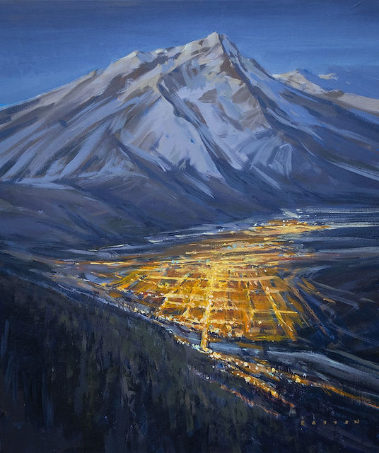 multi-colour arcylic painting titled Mountain Town at night by artist charlie easton