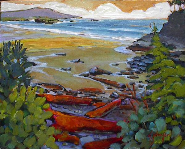 multi-colour acrylic painting titled Cast Shadows, MacKenzie Beach by artist gail johnson.