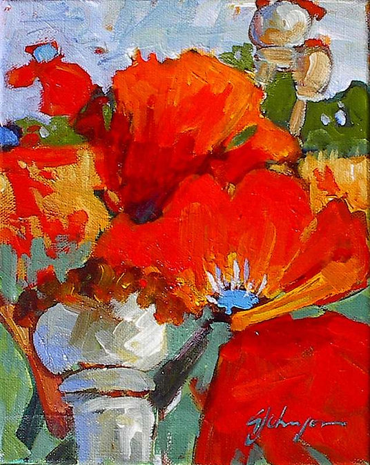 multi-colour acrylic painting titled Summer Warmth by artist gail johnson.