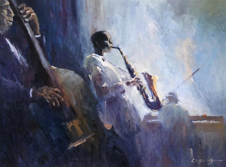 multi-colour oil painting titled The Blues by artist peter cheung