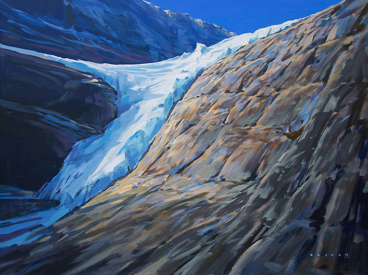 multi-colour arcylic painting titled Under the Angel Glacier by artist charlie easton