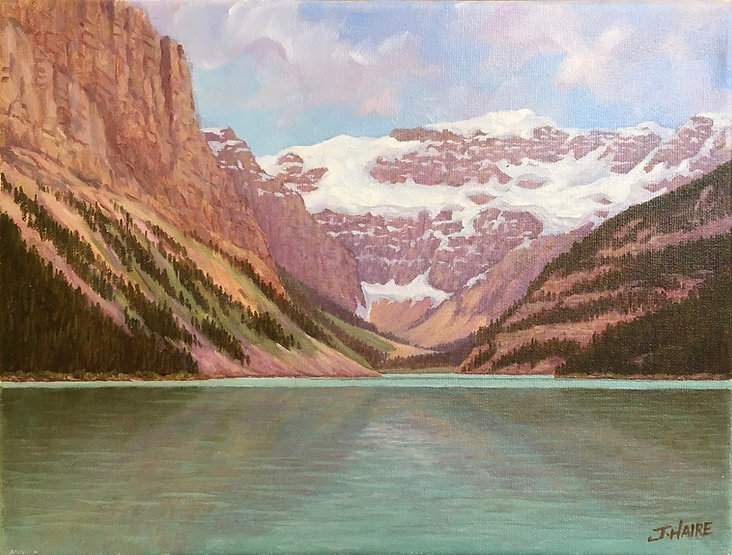 multi-colour oil painting titled SOLD Lake Louise by artist joe haire.