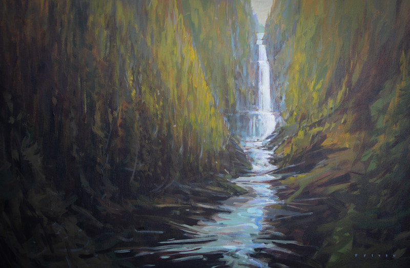 multi-colour arcylic painting titled Fall Falls by artist charlie easton