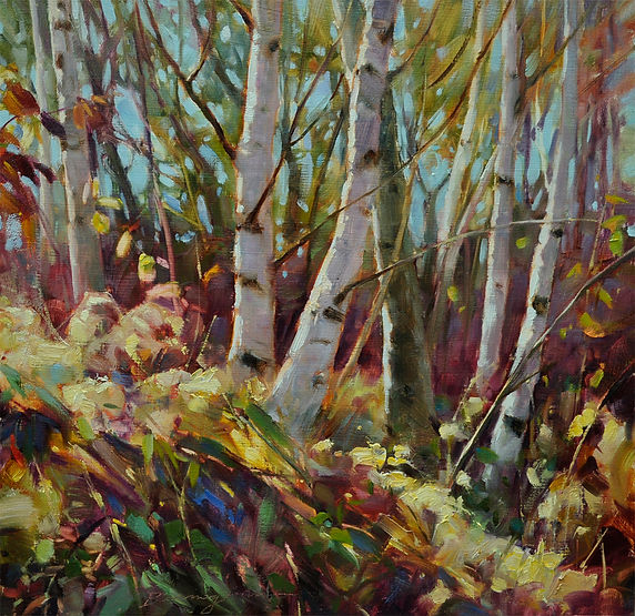 multi-colour oil painting titled A Whisper Away by artist wendy bermingham