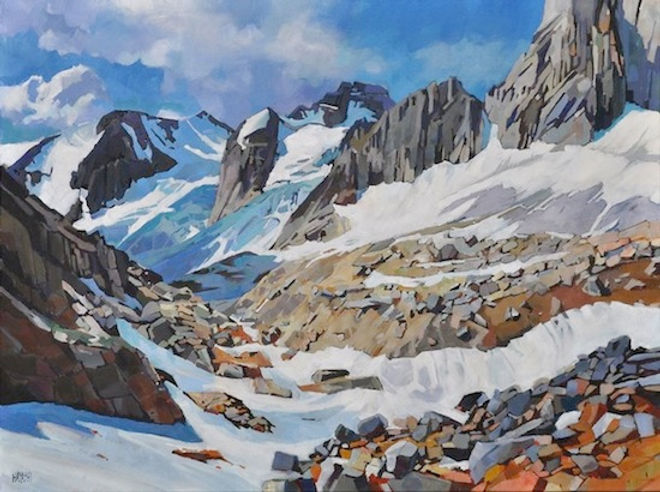 multi-colour arcylic painting titled Bugaboo Glaciers by artist randy hayashi.