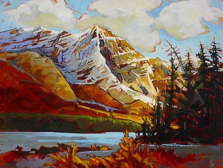 multi-colour acrylic painting titled Mountain Scene Yoho by artist gail johnson.