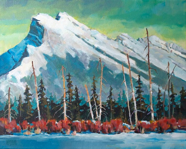 multi-colour arcylic painting titled Mount Rundle Winter by artist randy hayashi.