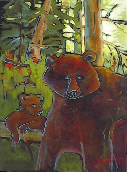 multi-colour acrylic painting titled Bears Will Be Bears by artist gail johnson.