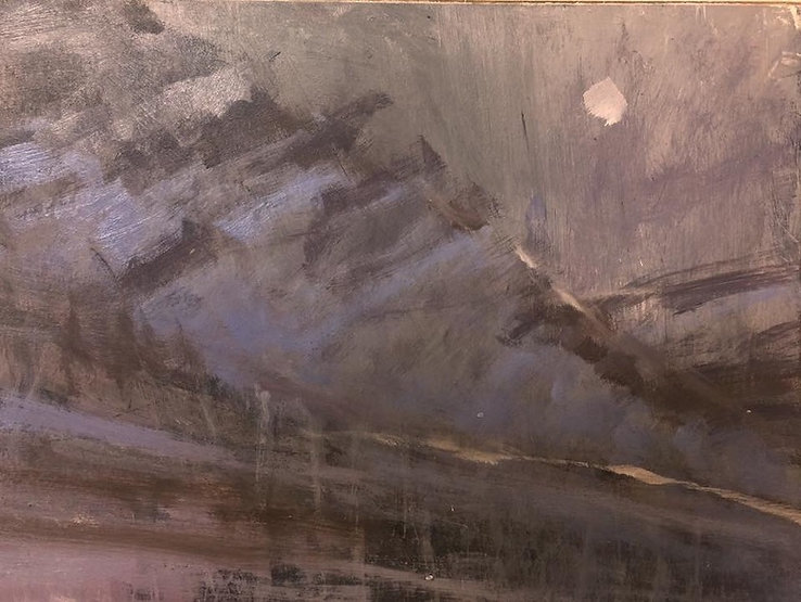 multi-colour oil painting titled SOLD: Mountain Moon by artist david sharpe.