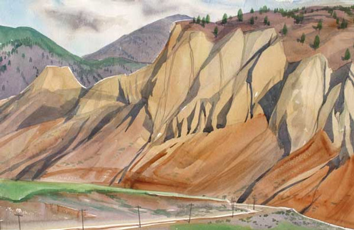multi-colour watercolour painting titled The Bend in the Tracks 1988 by artist doris mccarthy.