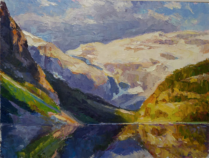 multi-colour oil painting titled Lake louise splendor two by artist michael downs