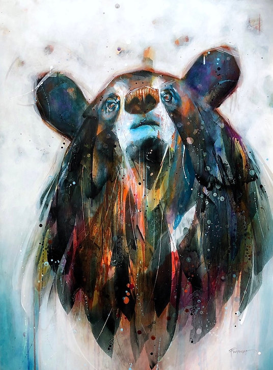 Multi-colour arcylic painting of a bear titled Trail Mix by artist fran alexander