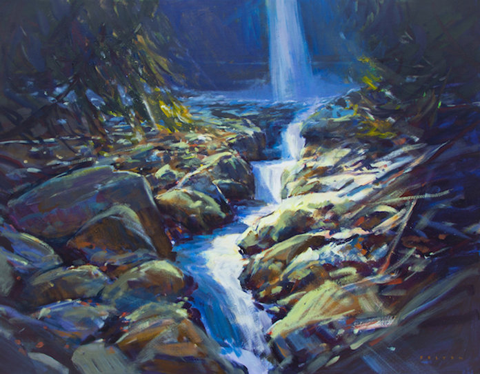 multi-colour arcylic painting titled Sunshine Creek by artist charlie easton