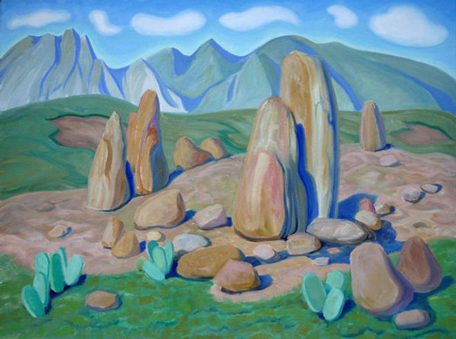 multi-colour oil painting titled Hilltop Hoodoos, Arizona 1998 by artist doris mccarthy.