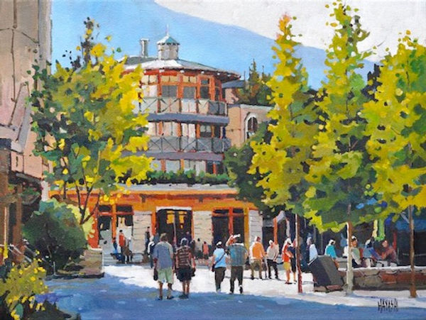 multi-colour arcylic painting titled Village Vibe by artist randy hayashi.
