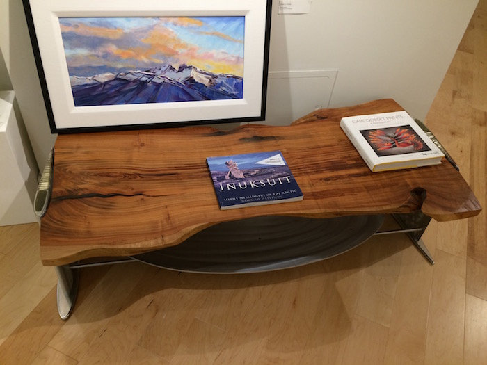 Coffee and chrome table titled SOLD Heli Coffee Table by aviation furniture designer arnt arntzen