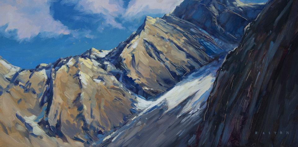 multi-colour oil painting titled Towards the Top by artist charlie easton