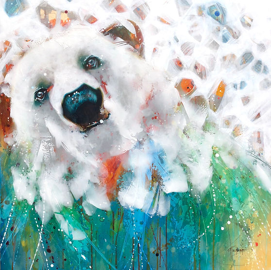 Multi-colour arcylic painting of a bear titled True Grit by artist fran alexander