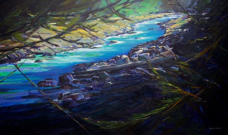 multi-colour arcylic painting titled Glacial Spring by artist charlie easton.