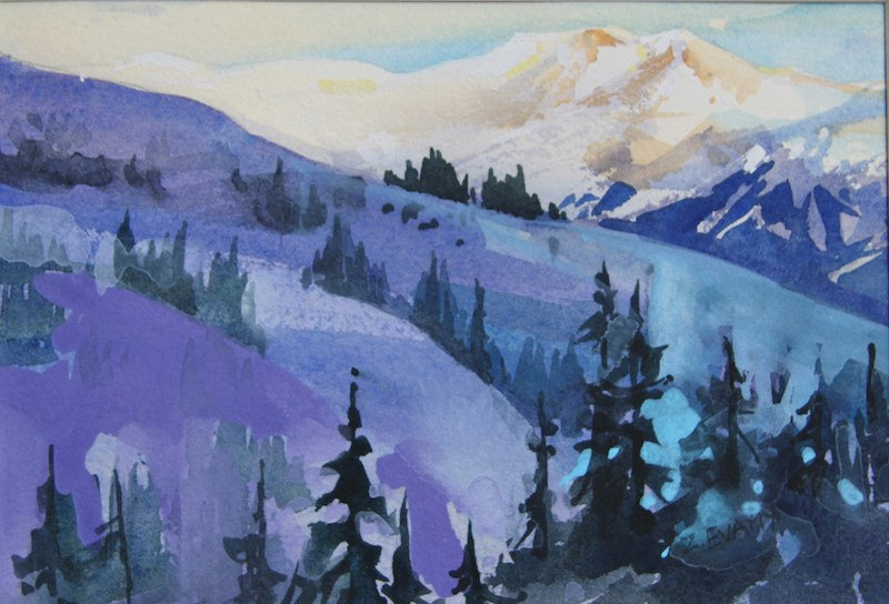 multi-colour watercolour painting titled Last Lift' by artist zoe evamy