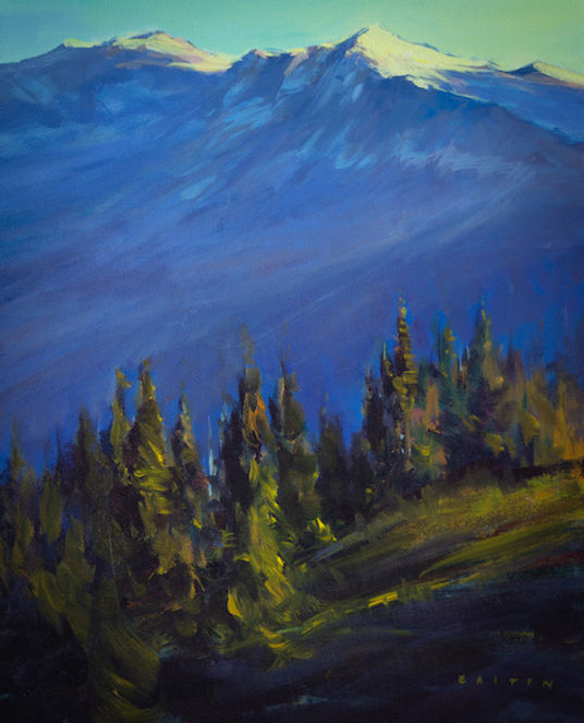 multi-colour arcylic painting titled Whistler Evening by artist charlie easton