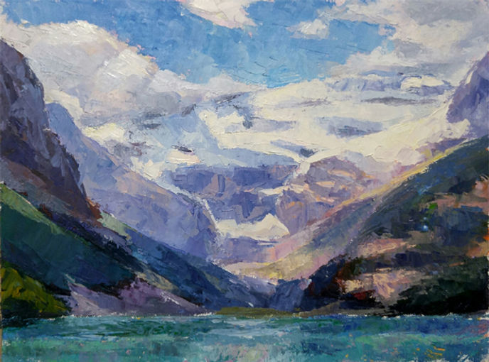 multi-colour oil painting titled Lake louise splendor five by artist michael downs