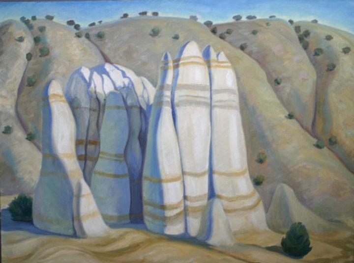 multi-colour oil painting titled Hoodoos in Abiqui, NM 1998 by artist doris mccarthy.