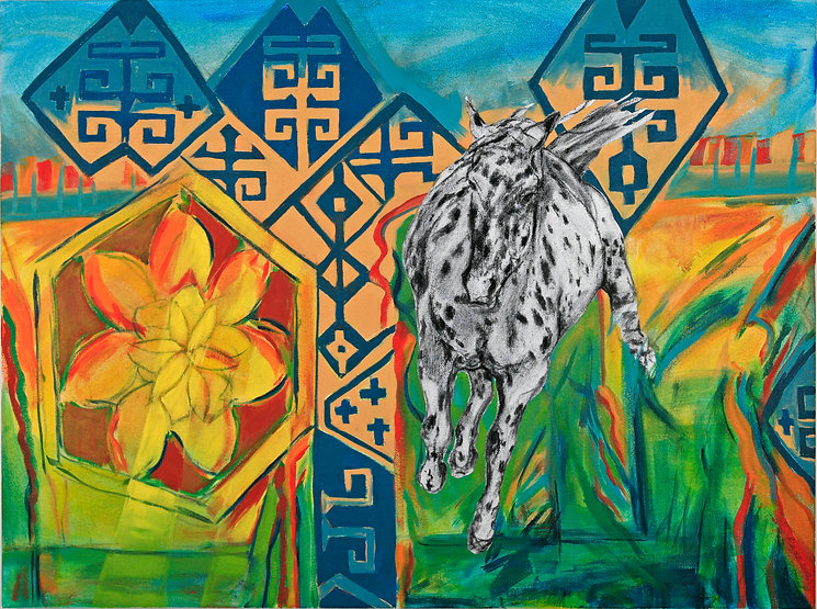 multi-colour Acrylic, charcoal  painting titled Flying Fox by artist maureen enns