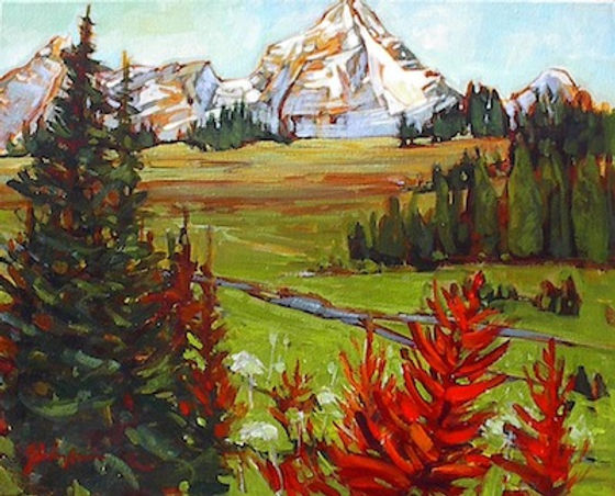 multi-colour acrylic painting titled Purcell Lodge View  by artist gail johnson.