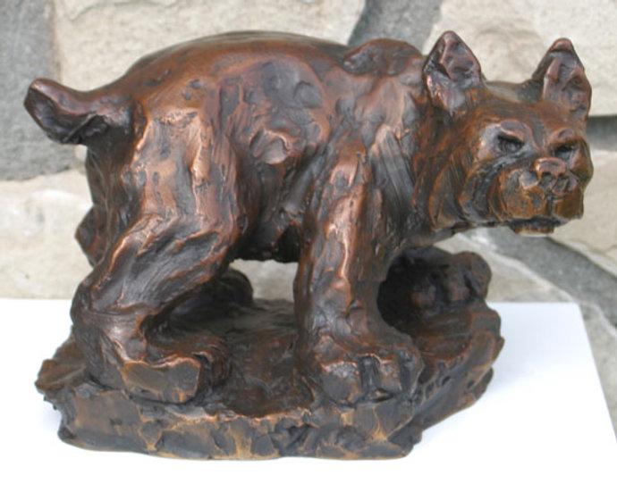 bronze sculpture titled Bobcat- small by artist fran jenkins.