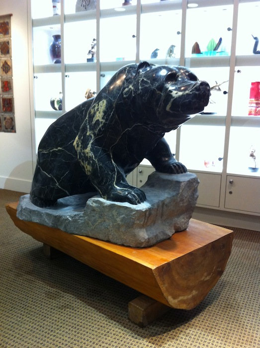 serpentine stone sculpture titled Large Bear by sculptor cathryn jenkins.
