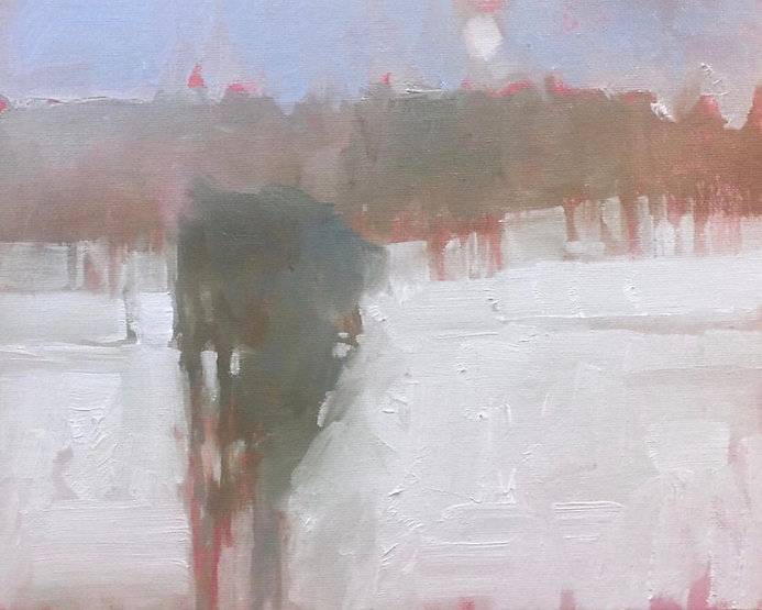 multi-colour oil painting titled Winter's Chill by artist david sharpe.