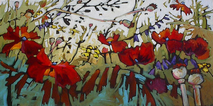 multi-colour acrylic painting titled Life Changes by artist gail johnson.