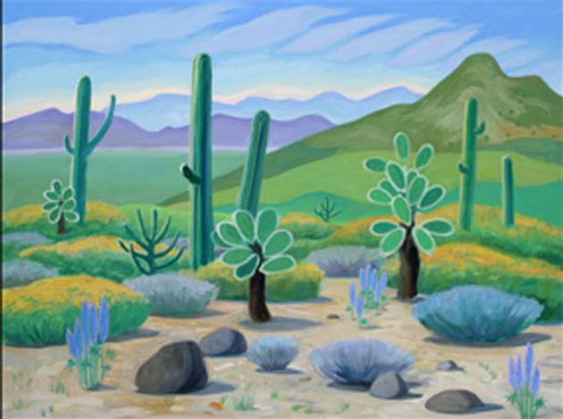 multi-colour oil painting titled The Desert in Bloom 2001 by artist doris mccarthy.