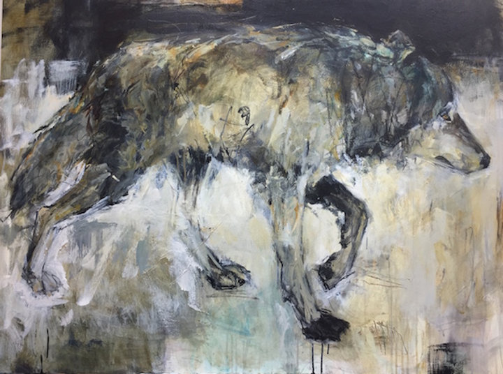 multi-colour mixed media painting titled Wolf Crossing by artist andrea moore.