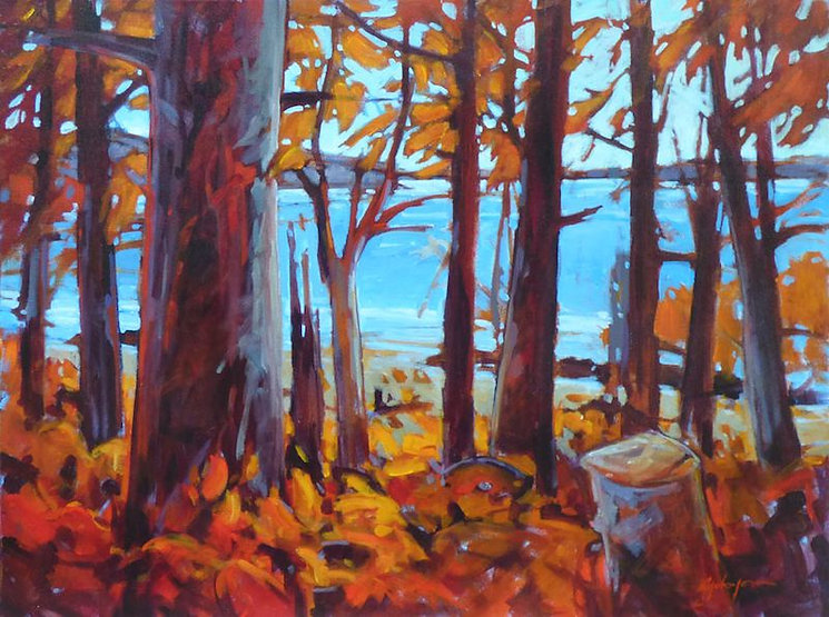 multi-colour acrylic painting titled Autumn Song by artist gail johnson.