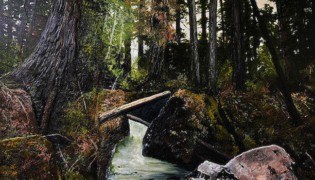 multi-colour arcylic painting titled Forest Flow by artist karel doruyter